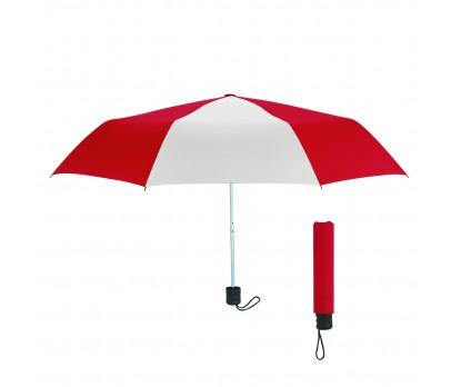 Red &  White 42 inch Arc Budget Telescopic Umbrellas