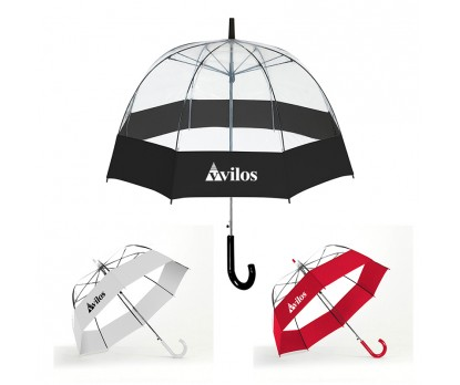Custom Printed Auto Open Bubble Stick with Fabric Border Umbrellas
