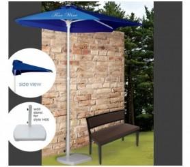 3 Panel 3.5 Rib Length Personalized Half Market Umbrella w/ 4 Colors