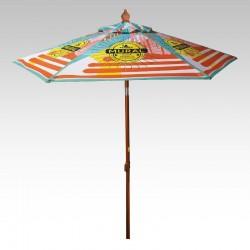 7 Ft Customized Full Color Wood Grain Steel Market Umbrellas