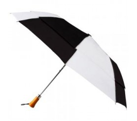 Custom Black & White 44 inchAuto Open Folding Umbrellas