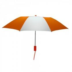 Custom Orange and White Mini 42 inch Arc Logo Umbrellas