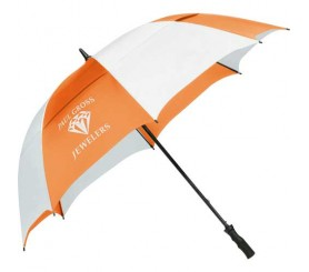Custom Orange & White Stripe 62 inchArc Vented Golf Course Umbrellas