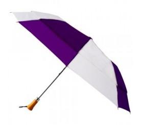 Custom Purple & White 44 inchAuto Open Folding Umbrellas