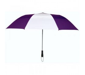 Custom Purple & White 58 inchArc Vented Economy Umbrellas
