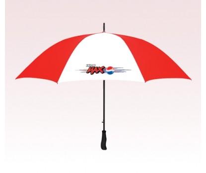 Custom Red & White 64 inch Arc Golf Auto Open Umbrellas