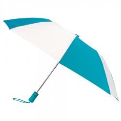 Custom Teal & White 43 inchWind Logo Imprinted Umbrellas