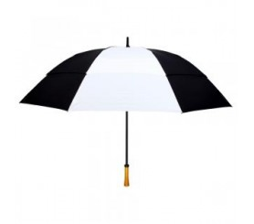 Customized Black & White 64 inchArc Vented Golf Umbrellas