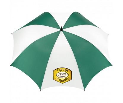 Customized Green & White 62 inchArc Golf  Tour Logo Umbrellas