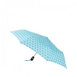 Personalized Aqua & White French Circle 43 inch Arc Totes Auto-Open/Close Umbrellas