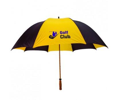 Personalized Black & Marigold 64 inchArc Mulligan Golf Umbrellas