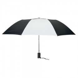 Personalized Black & White 42 inch Arc Auto Open Folding Umbrellas