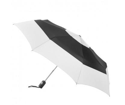 Personalized Black & White 43 inch Arc Totes Auto-Open Close Color Block Umbrellas