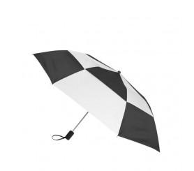 Personalized Black & White 44 inch Arc Gusto Vented Auto Open Folding Umbrellas