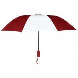 Personalized Burgundy & White 43 inch Arc Raindrop Umbrellas