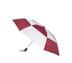 Personalized Burgundy & White 44 inch Arc Gusto Vented Auto Open Folding Umbrellas