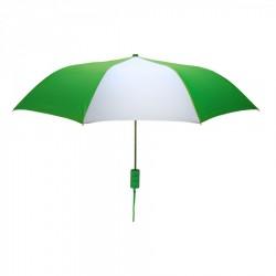 Personalized Kelly Green and White Mini 42 inch Arc Logo Umbrellas