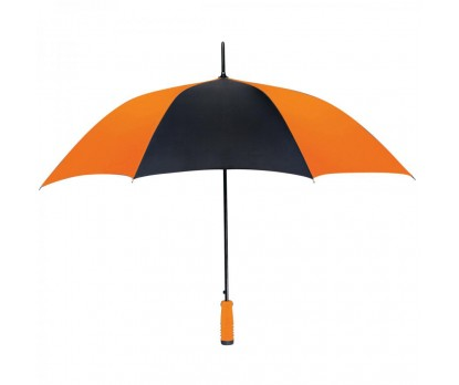 Personalized Orange & Black 46 inch Arc Printed Umbrellas