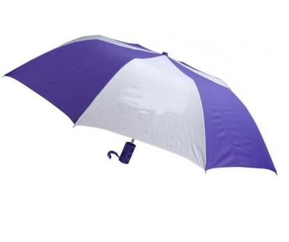 Personalized Purple & White 44 inch Arc Barrister Auto-Open Folding Umbrellas
