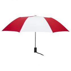 Personalized Red & White 42 inch Arc Auto Open Folding Umbrellas