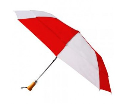 Personalized Red & White 44 inchAuto Open Folding Umbrellas