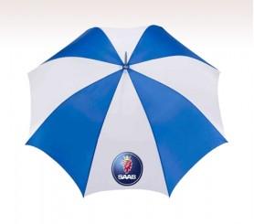 Personalized Royal & White 48 inchArc Logo Umbrellas