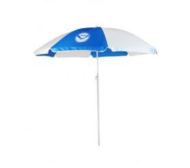 Personalized Royal & White 72 inchArc Economy Beach Umbrellas