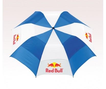 Personalized Royal & White Stripe 58 inch Arc Vented Golf Umbrellas