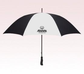 Personalized White & Black 64 inch Arc Golf Auto Open Umbrellas