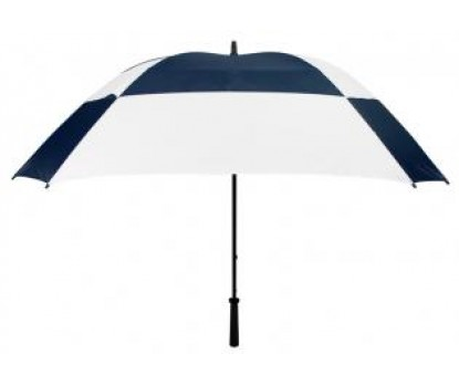 Promotional Navy & White 62inch Arc Logo Umbrellas