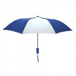 Promotional Royal and White Mini 42 inch Arc Logo Umbrellas
