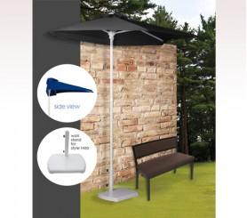 Personalized Black 3 Panel 3.5 Rib Length Half Market Umbrellas