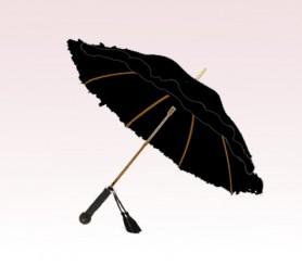 Personalized Black 46 inch Arc Floral Ladies Ruffles Style Fashion Umbrella