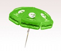 Personalized Lime Green 7.5 ft x 8 Panel Configuration Vinyl Patio/Café Umbrellas