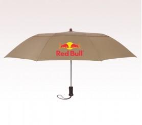 Personalized Khaki 44 inch Arc Telescopic Folding Wooden Handle Umbrella