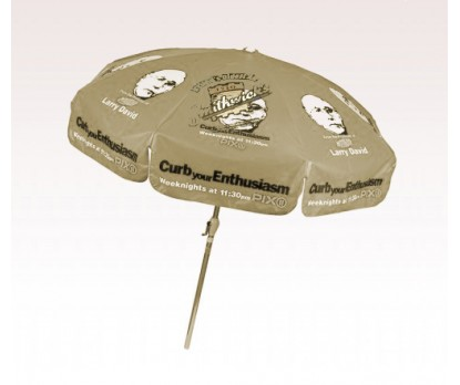 Personalized Khaki 7.5 ft x 8 Panel Configuration Vinyl Patio Umbrella
