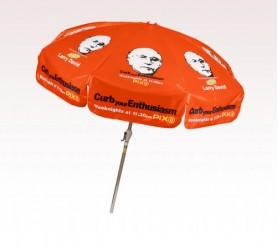 Personalized Orange 7.5 ft x 8 Panel Configuration Vinyl Patio Umbrella