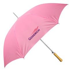 Personalized Pink 48 inch Arc Auto-Open Wood Grain Handle Fashion Umbrellas