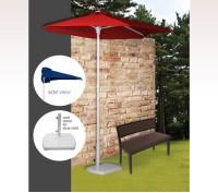 Personalized Red 3 Panel 3.5 Rib Length Half Market Umbrellas