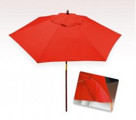 Personalized Red 7 ft x 6 Panel Configuration Vinyl Patio Umbrellas
