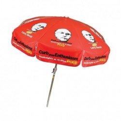 Personalized Red 7.5 ft x 8 Panel Configuration Vinyl Patio Umbrella