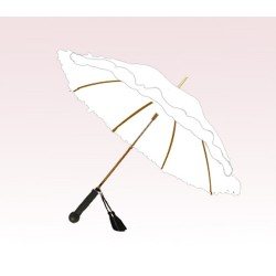 Personalized White 46 inch Arc Floral Ladies Ruffles Style Fashion Umbrella