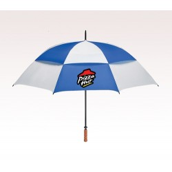 Customized 68 inch Vented White / Royal Blue Umbrellas