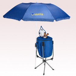 6 Ft Promotional Umbrella with High Stand Cooler and Speakers