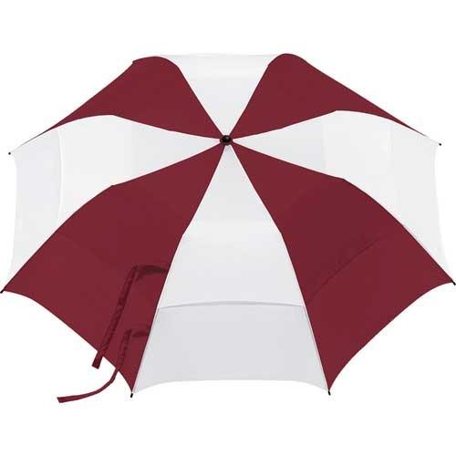 Customized Burgundy & White 58 inchArc Vented Golf Umbrellas